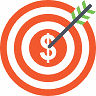 Icon of target with a dollar sign in the middle being hit by an arrow.